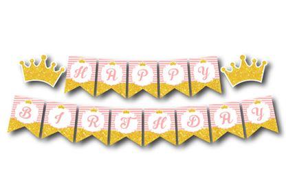 Tem dây chữ Happy Birthday Vương Miện Bé Gái