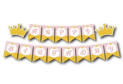 Tem day chữ Happy Birthday Vương Miện Bé Gái