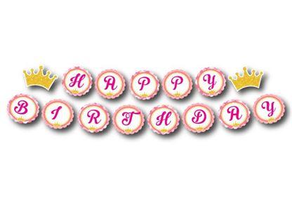 Dây chữ Happy Birthday vương miện bé gái màu hồng lưới