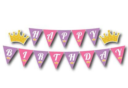 Dây chữ Happy Birthday vương miện bé gái màu hồng tím