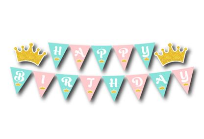 Dây chữ Happy Birthday vương miện bé gái màu hồng xanh min