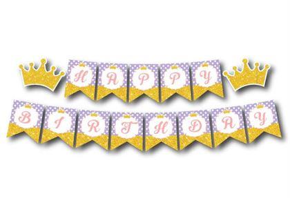 Dây chữ Happy Birthday vương miện bé gái màu tím chấm bi