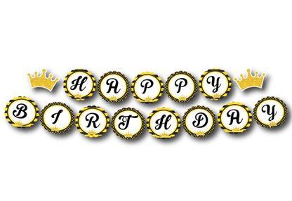 Dây chữ Happy Birthday Vương Miện Bé Trai màu vàng đen