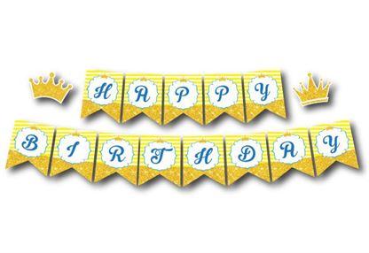 Dây chữ Happy Birthday Vương Miện Bé Trai màu vàng hoàng gia