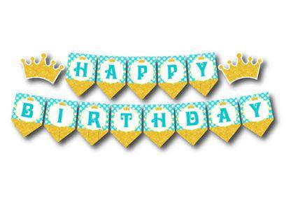 Dây chữ Happy Birthday Vương Miện Bé Trai màu vàng xanh min