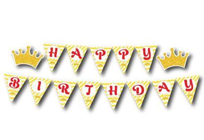 Dây chữ Happy Birthday Vương Miện Bé Trai màu vàng zigzag
