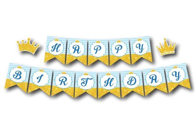 Tem day chữ Happy Birthday Vương Miện Bé Trai