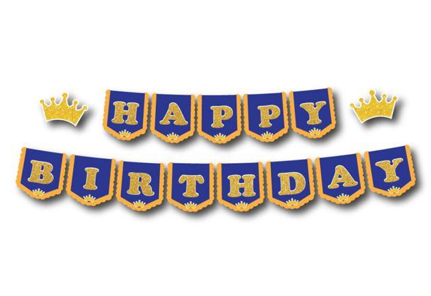 Dây chữ Happy Birthday Vương Miện Bé Trai màu xanh hoàng gia