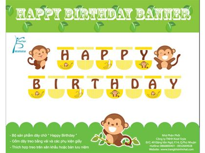 dây happybirthday bé trai tuổi khỉ