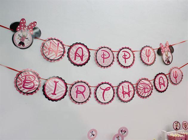 dây chữ happy birthday minnie