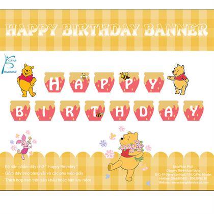 Dây chữ Happy Birthday chủ đề gấu Pooh