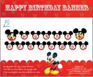 Dây chữ Happy Birthday Chủ Đề Mickey