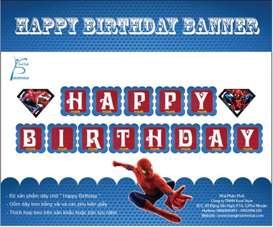 Dây Chữ Happy Birthday Spiderman