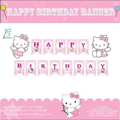 Dây chữ Happy Birthday chủ đề Kitty