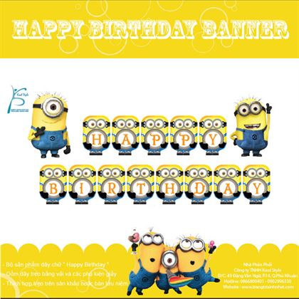 Dây banner Happy Birthday Minion