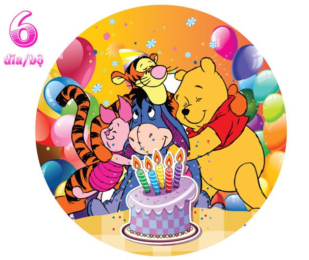 Đĩa Giấy Sinh Nhật Chủ Đề Gấu Pooh
