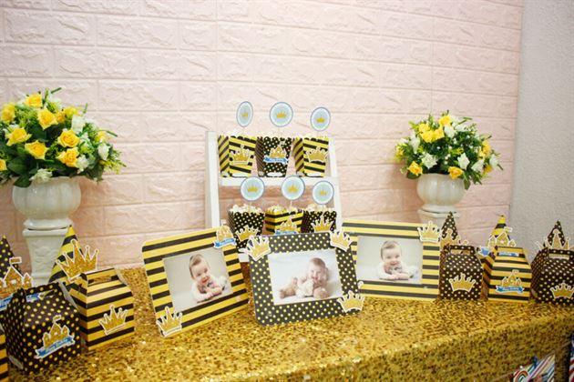 Đồ phụ kiện trang trí sinh nhật set mini vàng đen