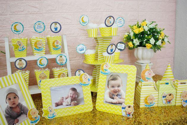 Tiệc sinh nhật bé trai trang trí thật dễ dàng với full set Baby Boy màu vàng hoàng gia