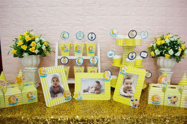 Full set Baby Boy màu vàng hoàng gia trang trí sinh nhật bé
