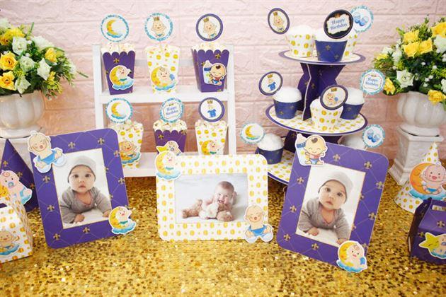 Full set sinh nhật Baby Boy màu xanh hoàng gia trang trí sinh nhật bé