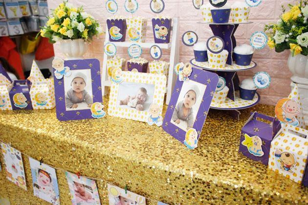 Trang trí bàn thôi nôi với full set Baby Boy màu xanh hoàng gia