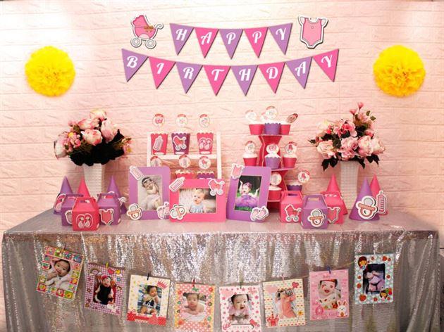 Full set baby girl màu hồng tím