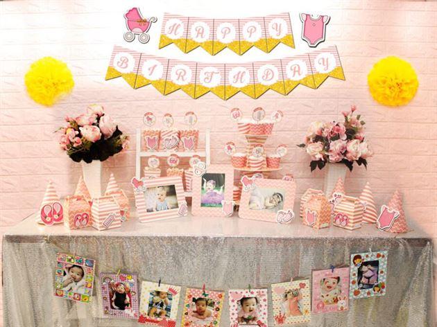 Full set baby girl màu hồng hoàng gia