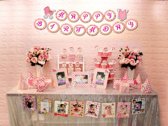 Full set Baby Girl màu hồng lưới