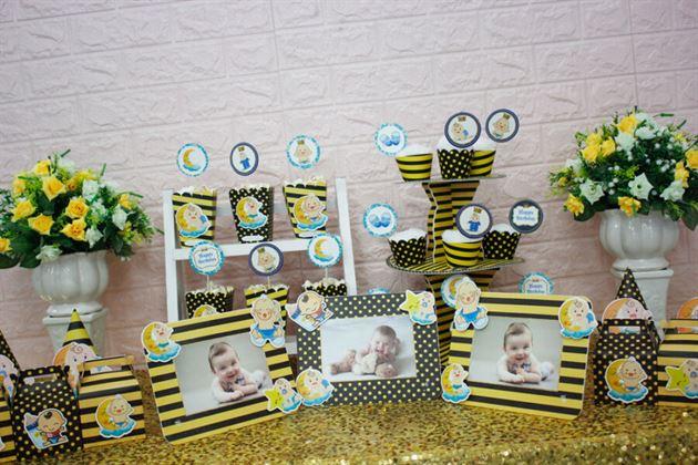 Full set trang trí sinh nhật Baby Boy màu vàng đen