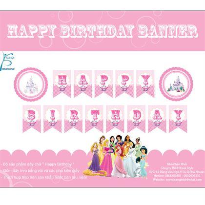 Dây chữ Happy Birthday Chủ Đề Công Chúa