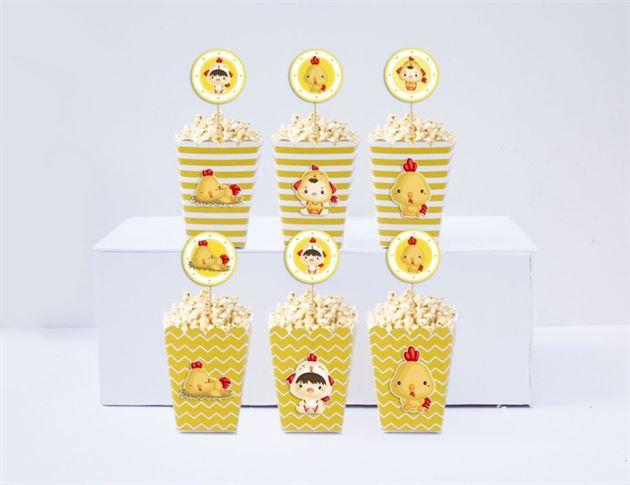 Hộp đựng bắp rang bơ bé trai tuổi gà màu vàng hoàng gia