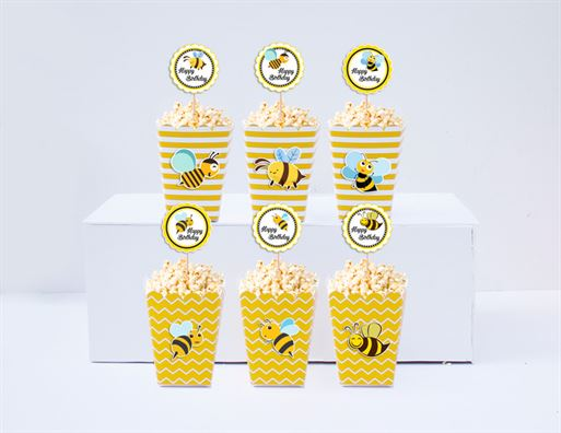 Hộp đựng bắp rang bơ Bé Ong màu vàng hoàng gia