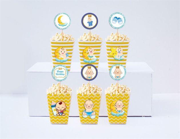 Hộp đựng bắp rang bơ baby boy màu vàng hoàng gia