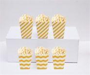 Hộp đựng bắp rang bơ màu vàng sọc zigzag