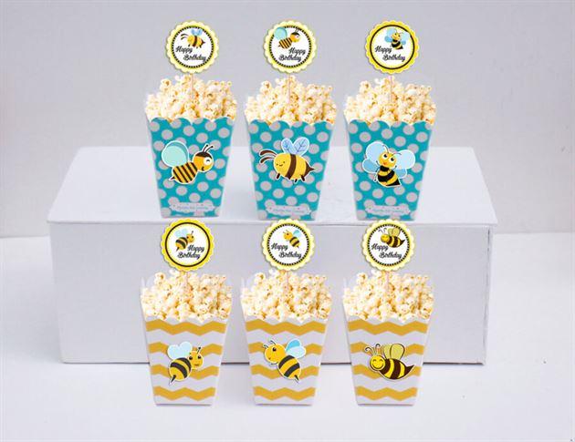 Hộp đựng bắp rang bơ Bé Ong màu vàng xanh min