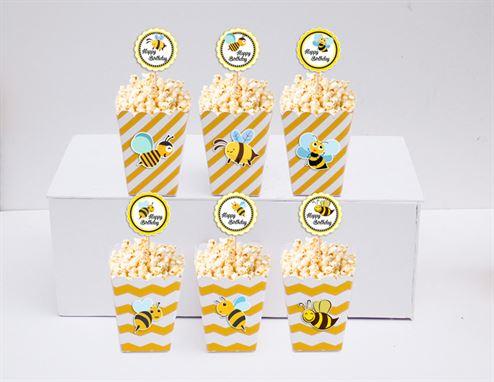 Hộp đựng bắp rang bơ Bé Ong màu vàng zigzag