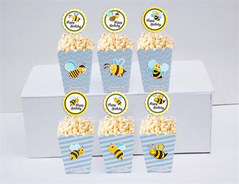 Hộp đựng bắp rang bơ Bé Ong màu xanh da trời