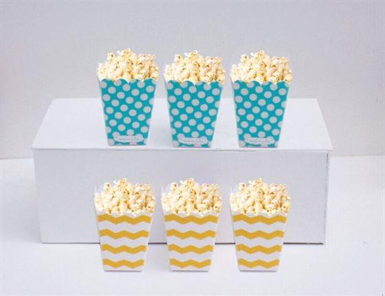 Hộp đựng bắp rang bơ màu xanh min vàng