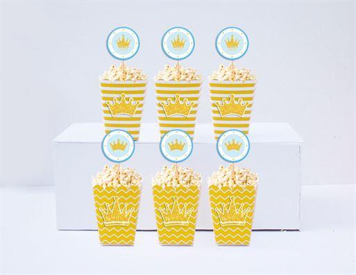 Hộp đựng bắp rang bơ Vương Miện Bé Trai màu vàng hoàng gia
