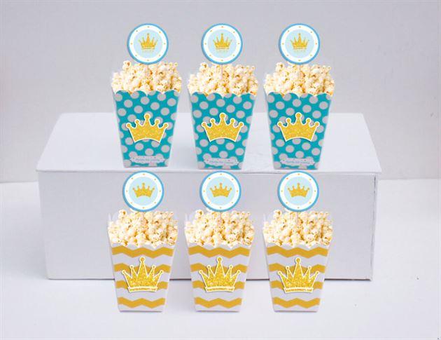 Hộp đựng bắp rang bơ Vương Miện Bé Trai màu vàng xanh min
