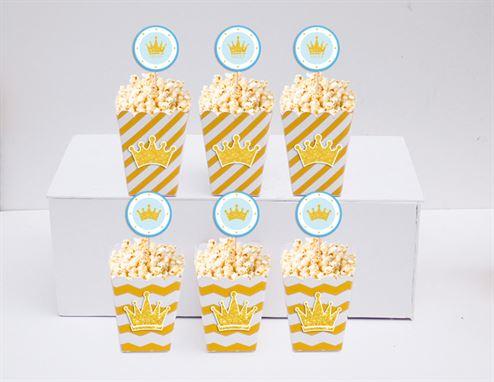 Hộp đựng bắp rang bơ Vương Miện Bé Trai màu vàng zigzag