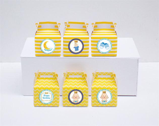 Hộp quà sinh nhật baby boy màu vàng hoàng gia