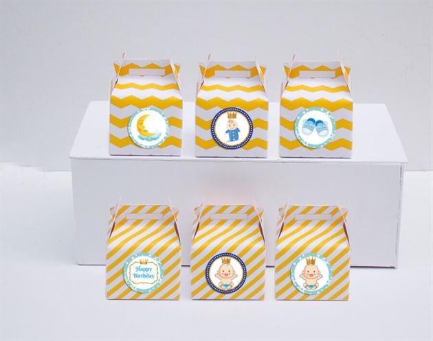 Hộp quà sinh nhật baby boy màu vàng zigzag
