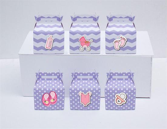 Hộp quà sinh nhật baby girl màu hống tím chấm bi