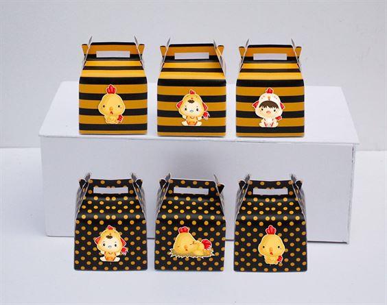 Hộp quà sinh nhật bé trai tuổi gà màu vàng đen