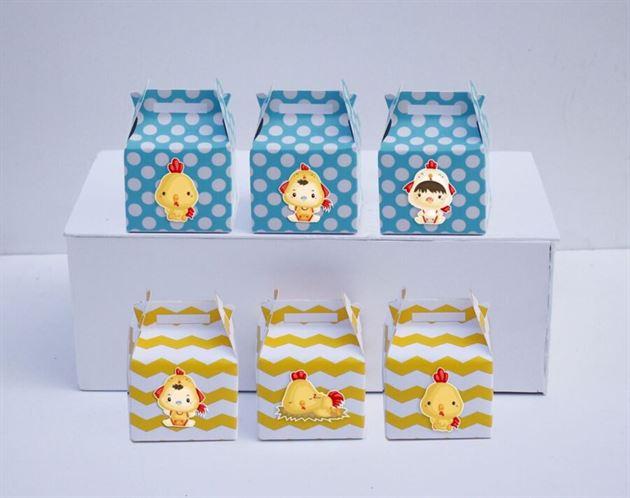Hộp quà sinh nhật bé trai tuổi gà màu vàng xanh min