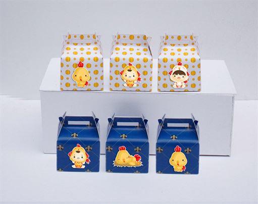 Hộp quà sinh nhật bé trai tuổi gà màu vàng xanh hoàng gia