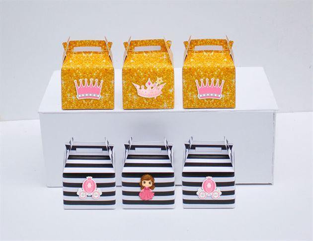 Hộp quà sinh nhật công chúa màu đen kim tuyến