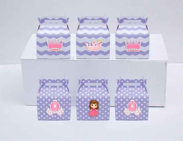 Hộp quà sinh nhật công chúa màu tím chấm bi