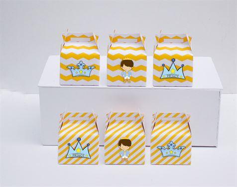 Hộp quà sinh nhật Hoàng Tử màu vàng zigzag